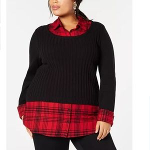 Style & Co Plus Macy's Layered Sweater Top Plaid